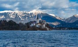 Winter landscape on Bled lake. Slovenija most famous landmark. Tourist attraction. Scenic landscape, romantic place stock images