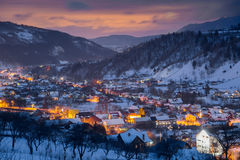 Winter landscape at blue hour royalty free stock photos