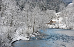 Winter landscape with a blue river Royalty Free Stock Photography
