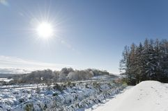 Winter landscape with a blue sky stock photos