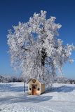 Winter landscape with blue sky and chapel with heart. Winter landscape with blue sky and the road and linden tree, chapel and heart Stock Photo