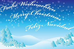 Winter landscape Blue with text Stock Photos