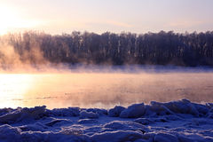 Winter landscape. Breathing of the river. Royalty Free Stock Images
