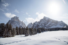 Winter landscape with breathtaking mountains Royalty Free Stock Photos