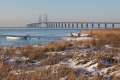 Winter landscape with the bridge Royalty Free Stock Images