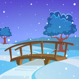 Winter landscape with bridge Stock Image