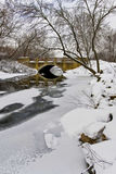 Winter landscape with the bridge Stock Image