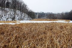 Winter landscape with bridge in view Stock Images