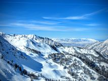 Winter landscape from Brighton Ski Resort in wasatch Mountains Utah. Pine tree forest snow stock images