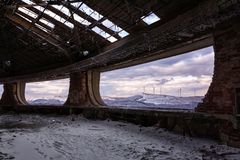 Winter landscape from Buzludzha - Abandoned bulgarian communist party`s building. Bulgaria