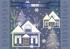 Winter landscape 2017 calendar design printable. Illustration Stock Image