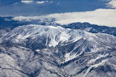 Winter landscape in california with snow covered mountains near Landers stock photography