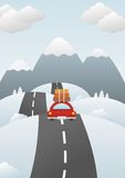 Winter landscape with car on the road Royalty Free Stock Images
