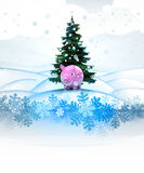 Winter landscape card with xmas tree and pink pig Royalty Free Stock Image