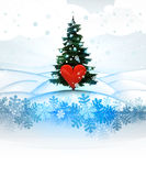 Winter landscape card with xmas tree and red heart Stock Photos