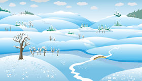 Winter Landscape, cartoon Stock Images