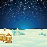 Winter Landscape. Cartoon Vector Illustration Royalty Free Stock Photos