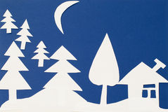 Winter landscape carved out of paper Stock Photos