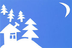 Winter landscape carved out of paper Royalty Free Stock Photos