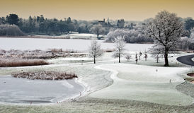 Winter landscape with castle in distance, irela Royalty Free Stock Photos