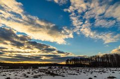 Winter landscape in Central Russia. Russian landscapes are diverse at any time of the year. In winter, the combination of forest, meadows and fields covered royalty free stock image