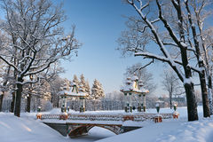 Winter landscape with chinese bridge Stock Photo