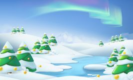 Winter landscape. Christmas background vector illustration Stock Photos