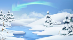Winter landscape. Christmas background. Vector illustration Royalty Free Stock Image