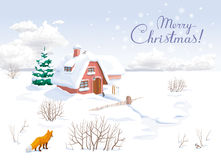 Winter landscape Christmas greeting card Stock Photos