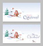 Winter Landscape Christmas Greeting Cards Set Royalty Free Stock Photos