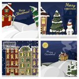 Winter landscape with christmas houses firtree mountain frozen nature wallpaper beautiful natural vector illustration. Winter landscape with christmas houses Royalty Free Stock Photography