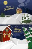 Winter landscape with christmas houses fir tree mountain frozen nature wallpaper beautiful natural vector illustration. Winter landscape with christmas houses Stock Image