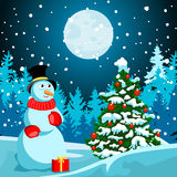 Winter landscape. Christmas night. New Year s Eve. Stock Photos