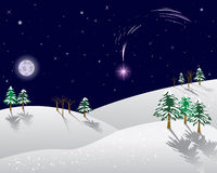 Winter landscape with christmas star. Royalty Free Stock Photography