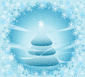 Winter landscape with christmas tree. Snow falling over a christmas tree, winter landscape; creative illustration Royalty Free Stock Photos