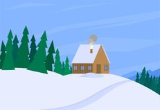 Winter landscape with christmas tree mountain frozen nature wallpaper beautiful natural vector illustration. Royalty Free Stock Photo