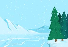 Winter landscape with christmas tree mountain frozen nature wallpaper beautiful natural vector illustration. Royalty Free Stock Photography