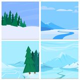 Winter landscape with christmas tree mountain frozen nature wallpaper beautiful natural vector illustration. Royalty Free Stock Images