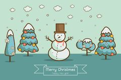 Winter landscape with Christmas trees, snowmen,. Nature, cartoon style winter landscape with Christmas trees, snowman, snow drifts. merry christmas & happy new Stock Images