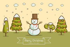 Winter landscape with Christmas trees, snowmen,. Nature, cartoon style winter landscape with Christmas trees, snowman, snow drifts. merry christmas & happy new Stock Image