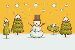 Winter landscape with Christmas trees, snowmen,. Nature, cartoon style winter landscape with Christmas trees, snowman, snow drifts. merry christmas & happy new Royalty Free Stock Photography