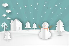 Winter landscape with Christmas trees, snowmen. Stock Photography