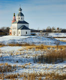 Winter landscape with a church. Winter landscape with an orthodox church in Suzdal, Russia royalty free stock images