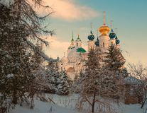Winter landscape with church Stock Photo