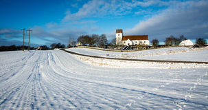 Winter landscape with church - Denmark II Royalty Free Stock Photos