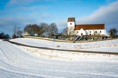 Winter landscape with church - Denmark Stock Photos