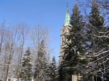 Winter landscape with a church stock photography