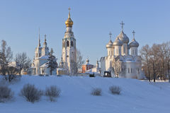 Winter landscape with a churches in the city of Vologda Royalty Free Stock Photos