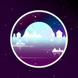 Winter landscape. Circle. Simple forms. Moon, mountains and ship. Sticker. Flat design Royalty Free Stock Image
