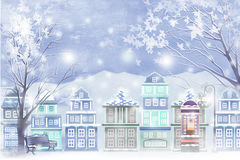 Winter landscape of city covered with snow - Graphic painting texture Stock Images